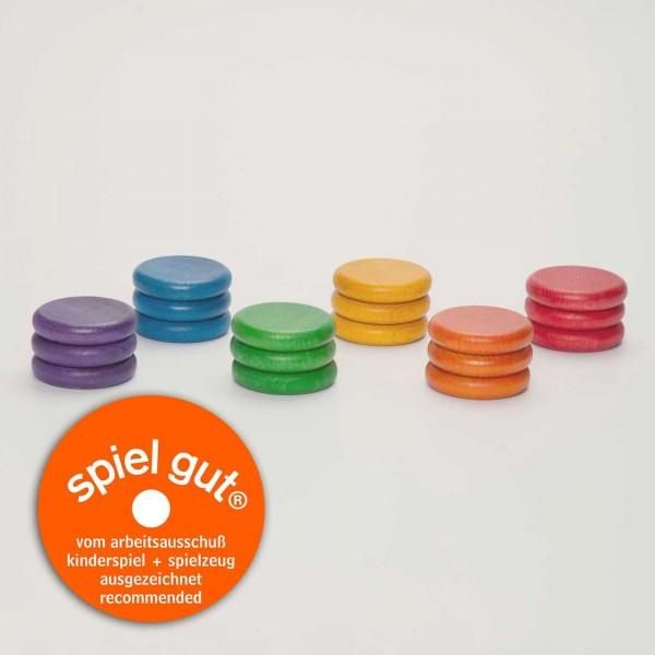 munten in regenboogkleuren - 18 stuks