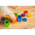 6 houten potjes met deksel regenboog - grapat