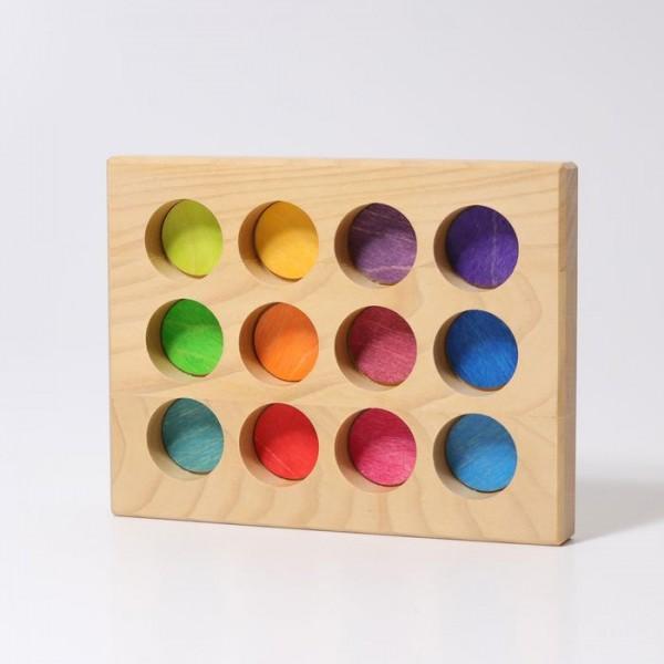 sorteerbord 12 vakken regenboog