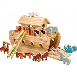 Luxe Ark van Noah in hardhout met gekleurde dieren