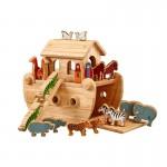 Junior Ark van Noah in hardhout met gekleurde dieren