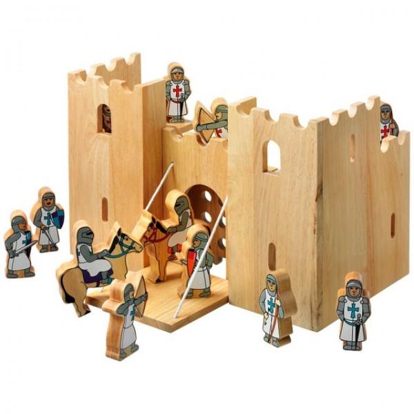 Kasteel met 12 ridders in rubberhout