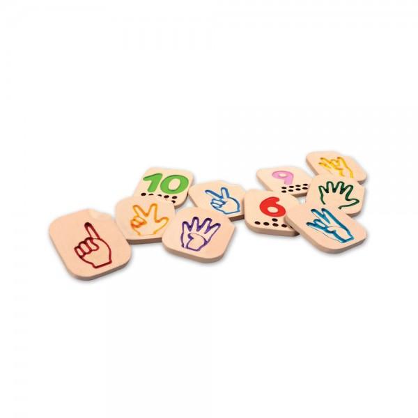 cijferkaarten met vingerbeeld 1-10