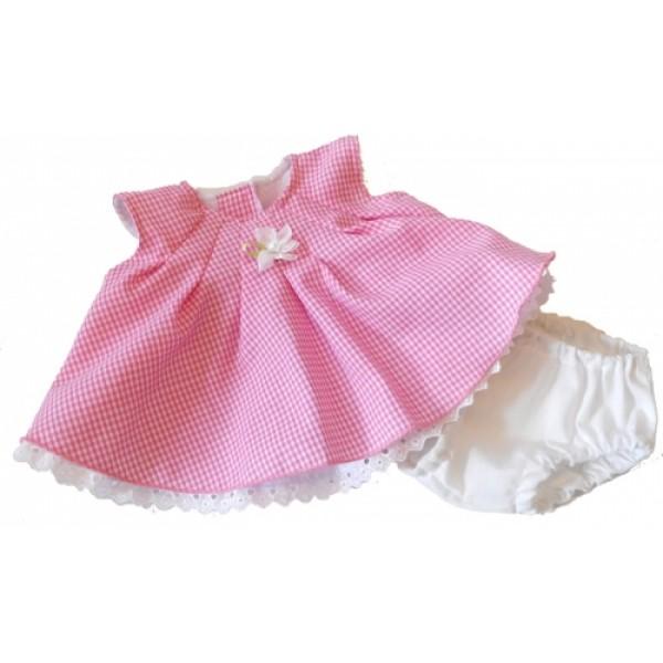 Roze geruit kleedje voor Rubens Barn poppen