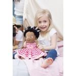 Knuffelpop Lollo met wit/roze jurkje