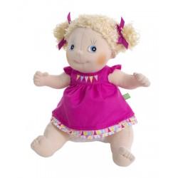 Knuffelpop Linnea met roze jurkje