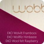 Wobbel original blank gelakt met eco wolvilt framboos